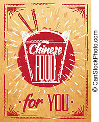 scatola, cibo cinese, manifesto, takeout, kraft