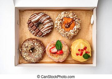 scatola, cima, donuts., assortimento, vista.