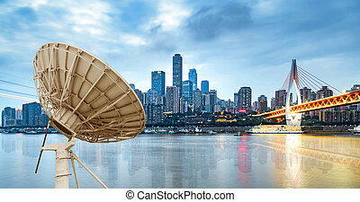 scatola, città, antenna parabolica, notte
