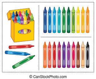 scatola, colori, pastelli, 20