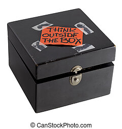 scatola, concetto, pensare, esterno, promemoria, o