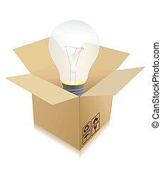 scatola, concetto, viaggiare, -, idea, bulbo