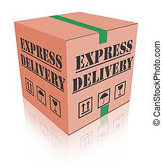 scatola consegna, carboard, espresso, pacchetto