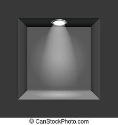 scatola, content., concetto, cornice, illustrazione, vettore, nero, mostra, sagoma, illumination., tuo, vuoto, 3d