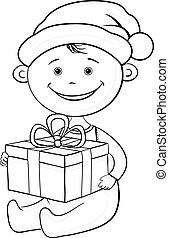 scatola, contorno, regalo, claus, santa, bambino