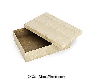 scatola, coperchio, isolato, fondo., ren, bianco, cartone, aperto, 3d