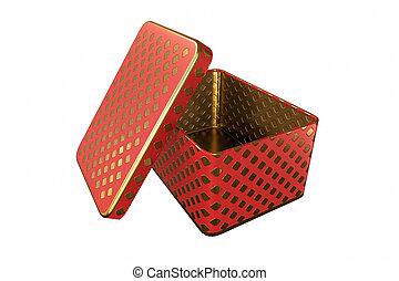 scatola, coperchio, metallo, isolato, interpretazione, fondo, bianco, vuoto, 3d