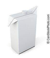 scatola, coperchio, succo, isolato, fondo., bianco, 3d.