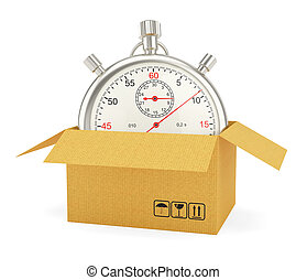 scatola, cronometro, cartone, aperto