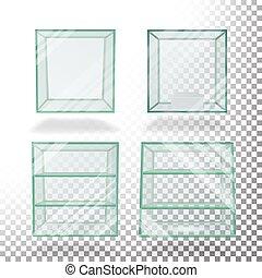 scatola, cubo, presentation., vetro, set, mostra, vector., trasparente, vuoto