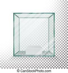 scatola, cubo, vetro, showcase., realistico, vuoto, vector., trasparente, cube.