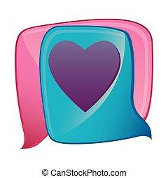 scatola, cuore, colorito, forma, disegno, dialogo, paio