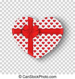 scatola, cuore, grafico, regalo, ribbon., modello, valentines, isolato, vettore, arco, day., fondo., trasparente, bianco, elemento, tuo, rosso, design.