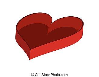 scatola, cuore ha modellato, vuoto, icona