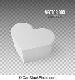 scatola, cuore, isolato, illustrazione, realistico, forma, vettore, fondo, bianco, trasparente