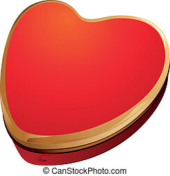 scatola, cuore, oro, regalo, forma, rosso