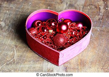 scatola, cuore, palla, forma, natale, rosso