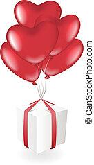 scatola, cuore, palloni, regalo