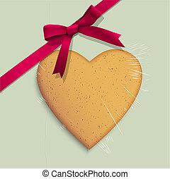 scatola, cuore, regalo, modellato, legato, rosa, biscotto, nastro