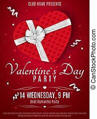 scatola, cuore, romantico, flyer., giorno valentines, bow., club., scuro, fondo., hearts., rosso, vector., invito, coriandoli, festa, bianco, composizione, nastro
