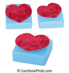 scatola, cuore, set, shaped., isolato, bianco