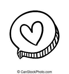 scatola, cuore, silhouette, disegno, dialogo, ovale, icona