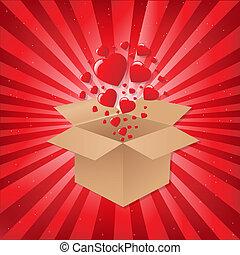 scatola, cuori