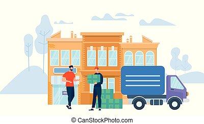 scatola, dare, lavoratore, giovane, uniforme, uomo