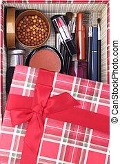 scatola, dentro, cosmetica, presente