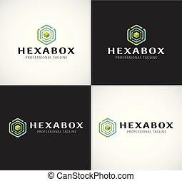 scatola, differente, hexa, vettore, colori, logotipo