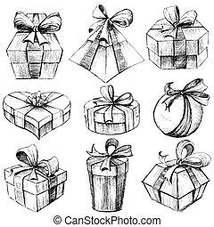 scatola, disegnato, regalo, mano
