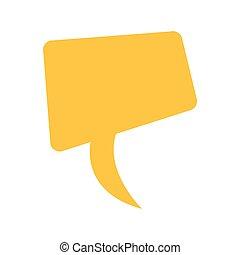 scatola, disegno quadrato, giallo, dialogo