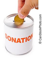 scatola, donazione, dollaro, canadese