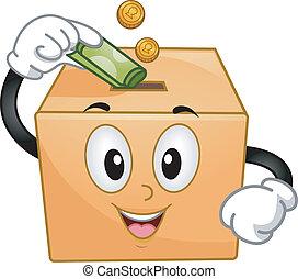 scatola, donazione, mascotte