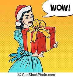 scatola, donna, arte, regalo, bubble., giovane, pop, vettore, discorso, illustrazione, presa a terra, comico, natale, felice