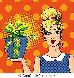 scatola, donna, arte, regalo, pop, vettore, illustrazione, presa a terra
