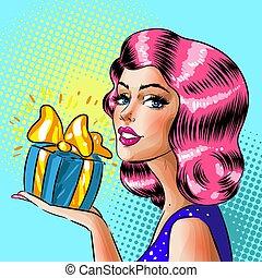 scatola, donna, arte, regalo, pop, vettore, retro, presa a terra