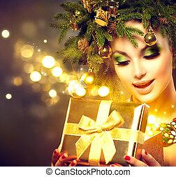 scatola, donna, magia, inverno, regalo, apertura, natale