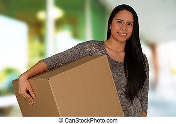 scatola, donna, portante, giovane