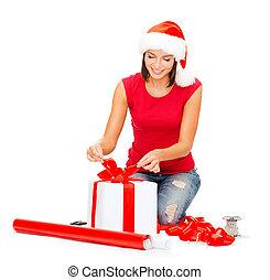 scatola, donna, regalo, benefattore, santa, sorridente, cappello
