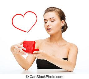 scatola, donna, regalo, orecchini, fede