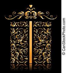 scatola, dorato, regalo, ornamento, stilizzato, disegno, floreale