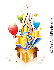 scatola, dorato, regalo