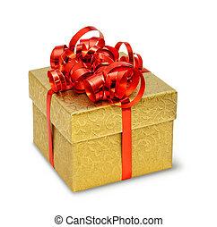 scatola, dorato, serico, ornamento, arco, presente,...