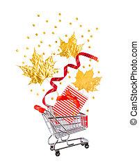 scatola, dorato, shopping, regalo, foglie, carrello, piccolo, rosso