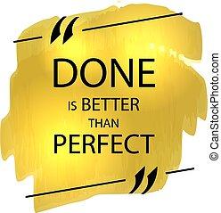 scatola, dorato, vettore, manifesto, colpi, citazione, motivazionale, meglio, pennarello, perfect., fatto, text:, paragonato a