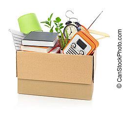 scatola, famiglia, pieno, cartone, roba