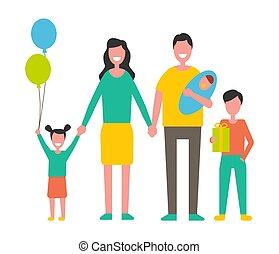 scatola, famiglia, regalo, presa a terra, palloni, bambini
