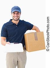 scatola, felice, consegna, appunti, cartone, uomo