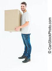 scatola, felice, consegna, portante, cartone, uomo